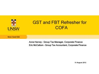 GST and FBT Refresher for COFA