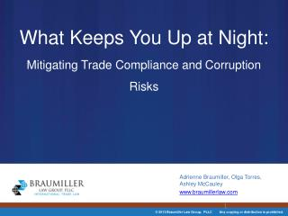 What Keeps You Up at Night:  Mitigating Trade Compliance and Corruption Risks