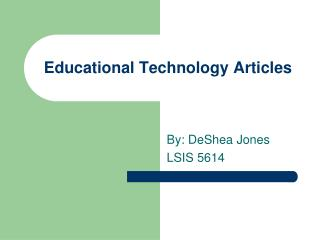 Educational Technology Articles