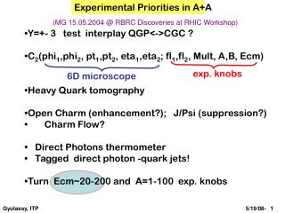 Experimental Priorities in A+A