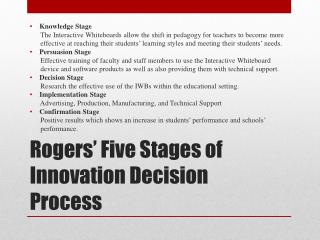 Rogers' Five Stages of Innovation Decision Process