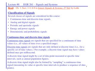 Lecture 8      EGR 261   Signals and Systems