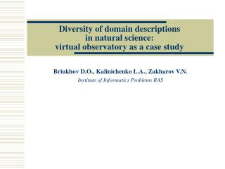 Diversity of domain descriptions  in natural science:  virtual observatory as a case study