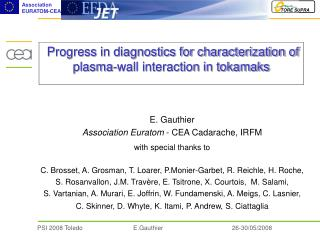Progress in diagnostics for characterization of plasma-wall interaction in tokamaks