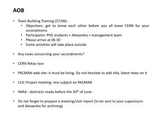 AOB Team Building Training (27/06):