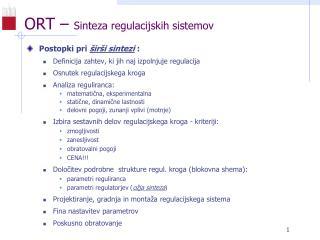 ORT –  Sinteza regulacijskih sistemov