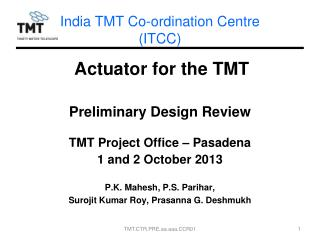 India TMT Co-ordination Centre  (ITCC)