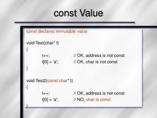 const Value
