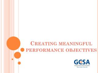 Creating meaningful performance objectives