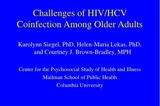 Challenges of HIV/HCV Coinfection Among Older Adults