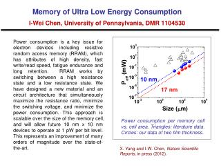 Memory of Ultra Low Energy Consumption I-Wei Chen, University of Pennsylvania, DMR 1104530