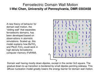 Ferroelectric Domain Wall Motion  I-Wei Chen, University of Pennsylvania, DMR 0303458