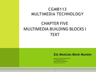 CGMB113 MULTIMEDIA TECHNOLOGY