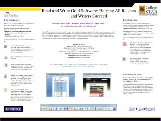 Read and Write Gold Software: Helping All Readers and Writers Succeed