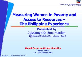 Measuring Women in Poverty and Access to Resources –  The Philippine Experience