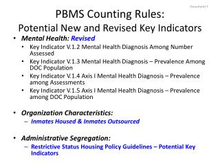 PBMS Counting Rules: Potential New and  Revised Key Indicators