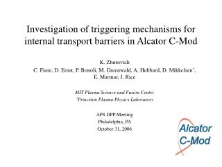 Investigation of triggering mechanisms for internal transport barriers in Alcator C-Mod