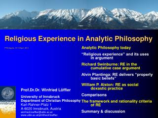 Religious Experience in Analytic Philosophy FFD Zagreb, 15-19 April  2013
