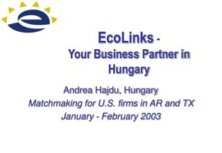 EcoLinks  - Your Business Partner in Hungary