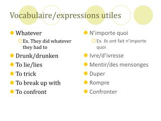 Vocabulaire/expressions utiles