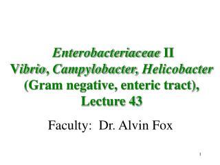 Faculty:  Dr. Alvin Fox