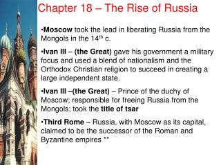 Chapter 18 – The Rise of Russia