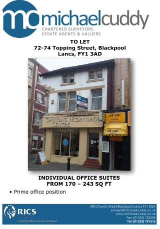 TO LET 72-74 Topping Street, Blackpool Lancs, FY1 3AD