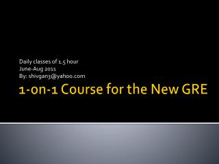 1-on-1 Course for the New GRE