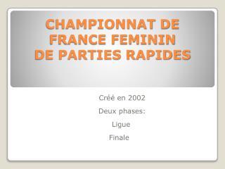 CHAMPIONNAT DE FRANCE FEMININ  DE PARTIES RAPIDES