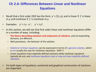 Ch 2.4: Differences Between Linear and Nonlinear Equations