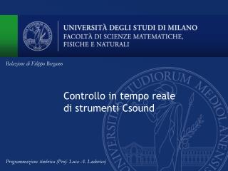 Controllo in tempo reale di strumenti Csound