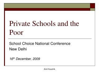 Private Schools and the Poor