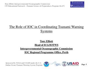 The Role of IOC in Coordinating Tsunami Warning Systems