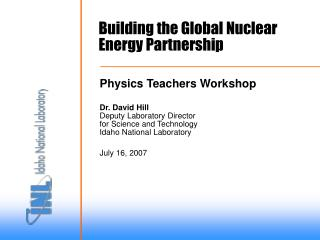 Building the Global Nuclear Energy Partnership