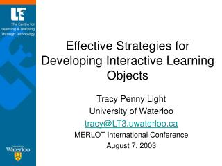 Effective Strategies for Developing Interactive Learning Objects