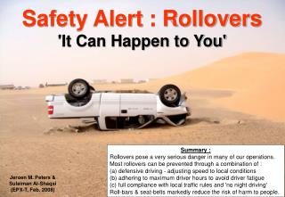 Safety Alert : Rollovers  'It Can Happen to You'
