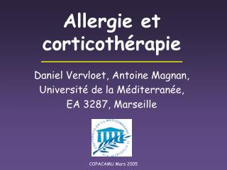 Allergie et corticothérapie