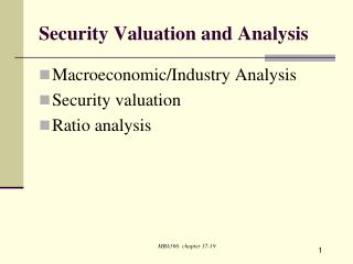 Security Valuation and Analysis