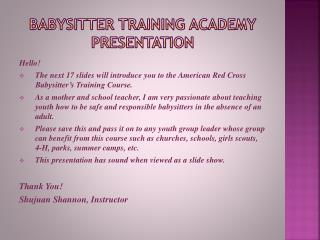 Babysitter Training Academy Presentation
