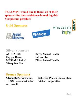 Silver Sponsors AVOGADRO	              Bayer Animal Health