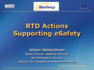 RTD Actions Supporting  e Safety