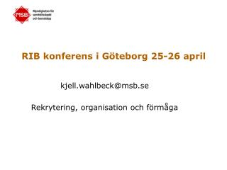 RIB konferens i G�teborg 25-26 april