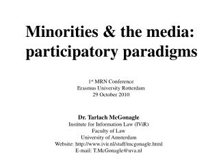 Minorities & the media: participatory paradigms