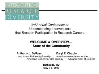 WELCOME & OVERVIEW— State of the Community 	Anthony L. DePass		Daryl E. Chubin
