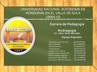 UNIVERSIDAD NACIONAL AUTONOMA DE HONDURAS EN EL VALLE DE SULA  UNAH-VS