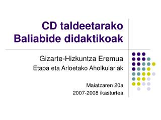 CD taldeetarako Baliabide didaktikoak