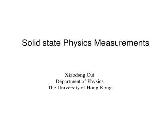 Solid state Physics Measurements