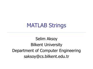 MATLAB Strings
