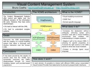 Visual Content Management System Bruno Coelho  ◦ bscmcoelho@netcabo.pt ◦ bcoelho.blog