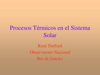 Procesos Térmicos en el Sistema Solar